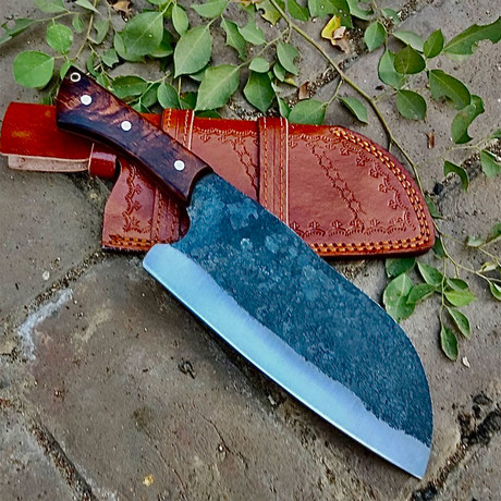 Raw Forged High Carbon Cleaver // Walnut Handle