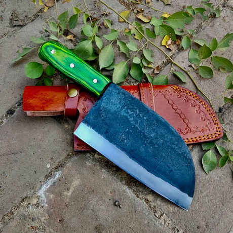 Raw Forged High Carbon Cleaver // Green Straight Handle