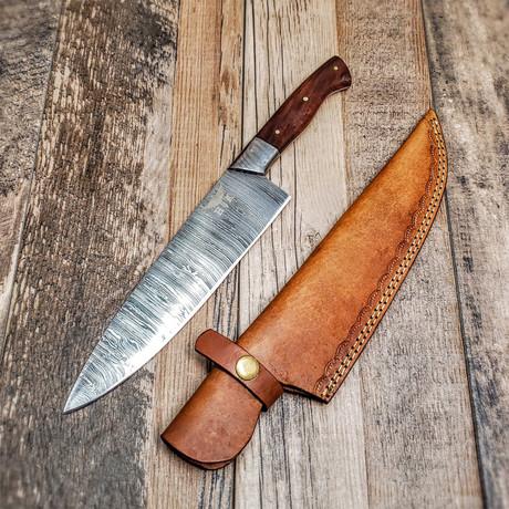 Damascus Chef Knife // Walnut Wood // Mirror Polish