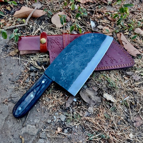 Raw Forged High Carbon Cleaver // Black Straight Handle