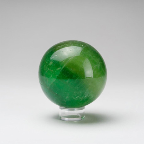 Genuine Polished Green Fluorite Sphere + Acrylic Display Stand // V2