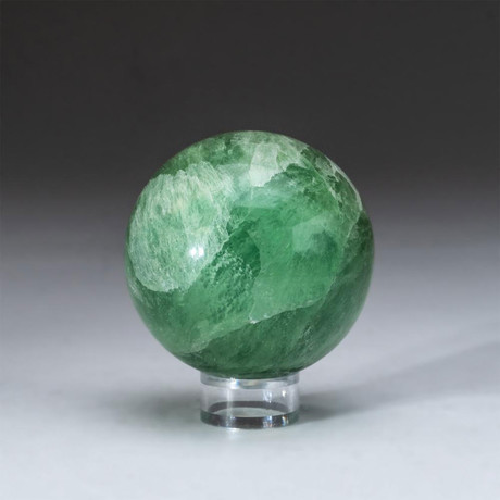 Genuine Polished Green Fluorite Sphere + Acrylic Display Stand // V1