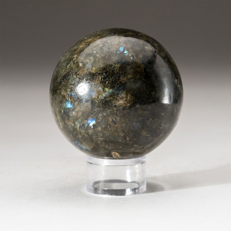 Genuine Polished Labradorite Sphere + Acrylic Display Stand // V1
