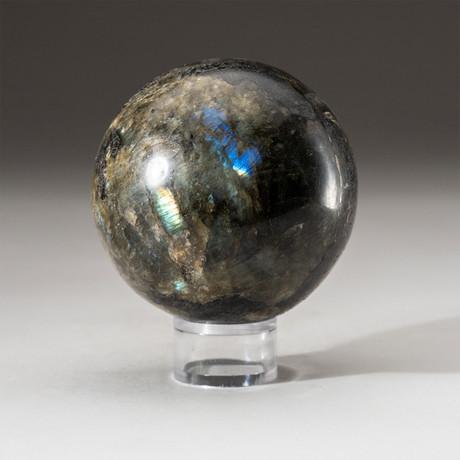 Genuine Polished Labradorite Sphere + Acrylic Display Stand // V2