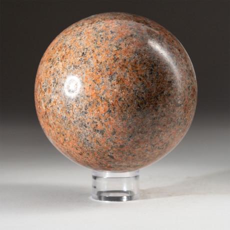 Genuine Polished Orange Moonstone + Acrylic Display Stand // V3
