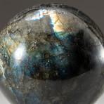 Genuine Polished Labradorite Sphere + Acrylic Display Stand