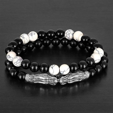 Stainless Steel Double Dragon Heads + Onyx + Howlite Bead Stretch Bracelet Set // Black + White