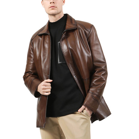 Brussels Leather Jacket // Camel (XS)