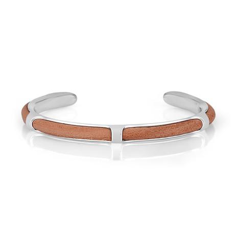 Brass + Leather Bracelet // Silver + Tobacco