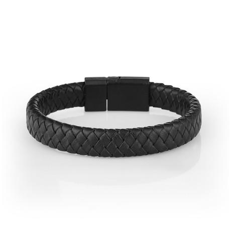 Braided Leather Bracelet // Black
