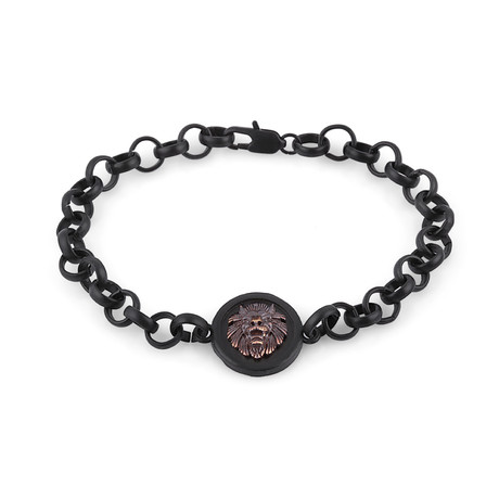 Lion Chain Link Bracelet // Black + Bronze