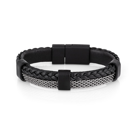 Braided Leather + Mesh Bracelet // Black + Silver