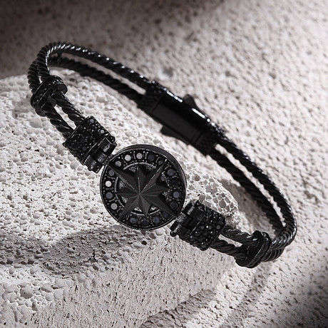 Compass + Wire Bracelet // Matte Black