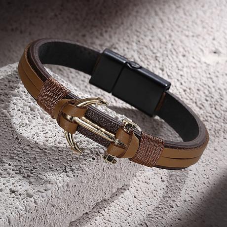 Anchor Bracelet // Brown + Tan