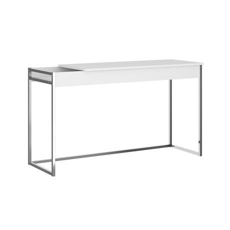 Eloise Office Desk // Matte White + Chrome Frame