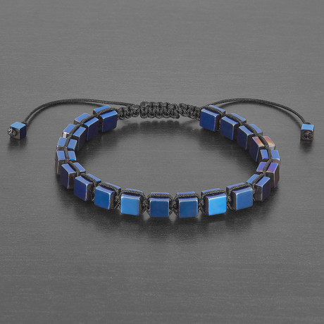 Polished Hematite Cube Stone Bracelet // 4mm (Gold)