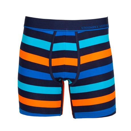 3 Color Stripe Boxer // Blue (S)