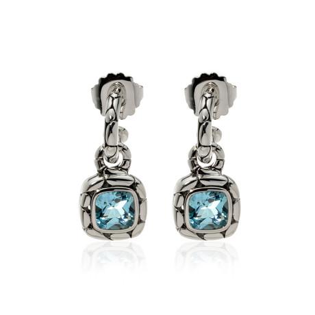 John Hardy // Sterling Silver + Blue Topaz Kali Earrings // Store Display