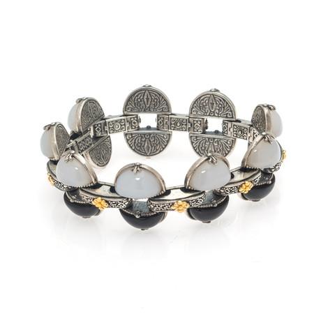 "Konstantino // Sterling Silver + White Agate Bracelet // 7"" // Store Display"
