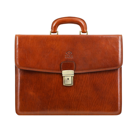 The Sound of the Mountain // Leather Briefcase // Light Brown