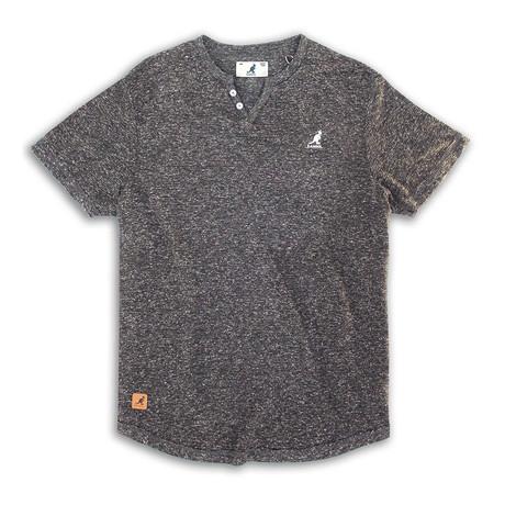 Skip Needle V Notch Short Sleeve Knit Top // Charcoal (S)