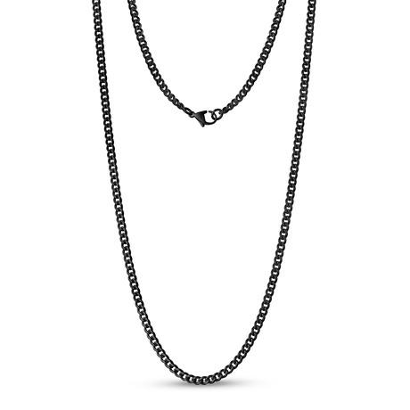 "Curb Link Necklace // 3.5mm // Black (16"")"