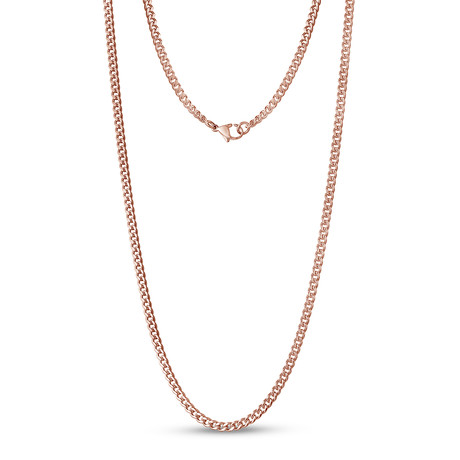 """Curb Link Necklace // 3.5mm // Rose Gold Plated (16"""")"""