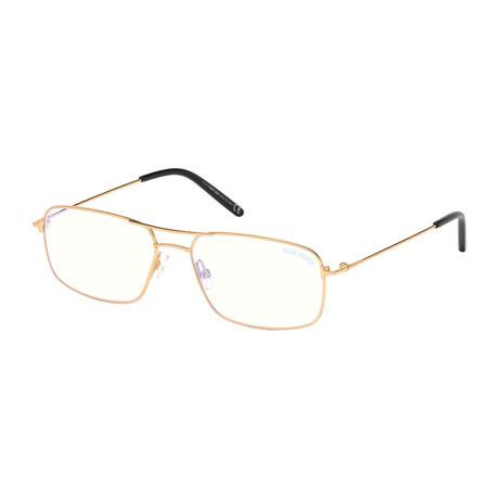 Men's Rectangle Blue Light Blocking Glasses // Shiny Gold
