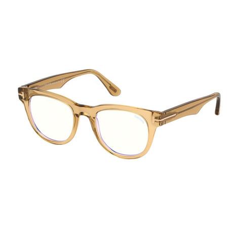 Unisex Square Blue Light Blocking Glasses V2 // Shiny Light Brown