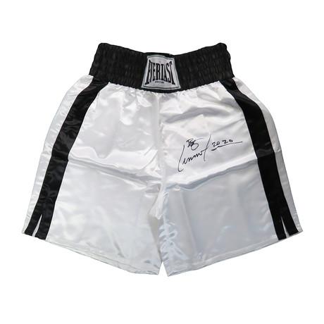 Lennox Lewis // Signed Everlast Boxing Trunks // White