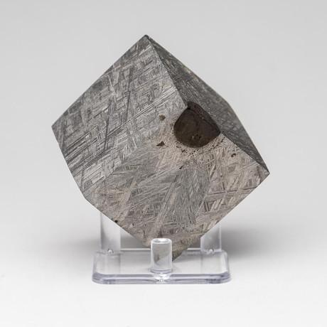 Genuine Muonionalusta Meteorite Cube + Acrylic Display Stand