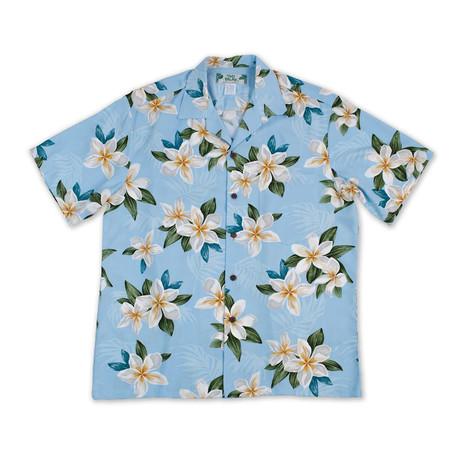 Plumeria Shower Shirt // Light Blue (Small)