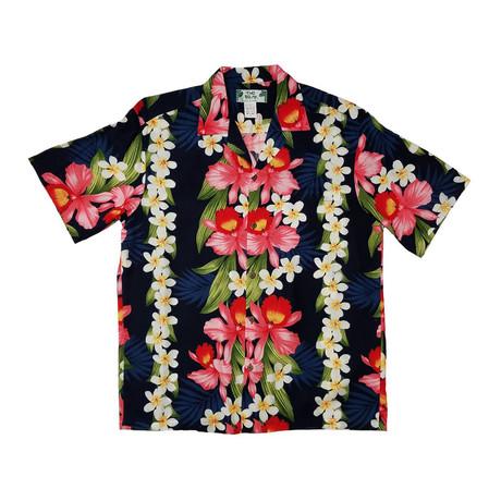Plumeria Orchid Panel Shirt // Navy (Small)
