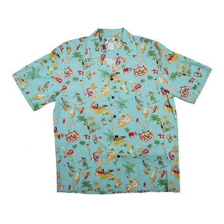 Vintage Aloha Shirt // Aqua (Small)