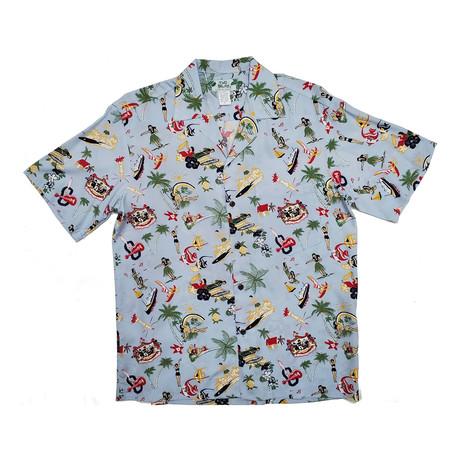 Vintage Aloha Shirt // Blue (Small)