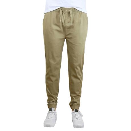 Cotton Stretch Twill Joggers // Khaki (S)