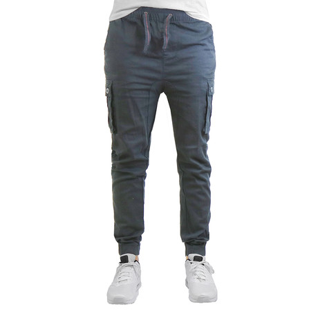 Cotton Blend Twill Cargo Joggers // Charcoal (S)