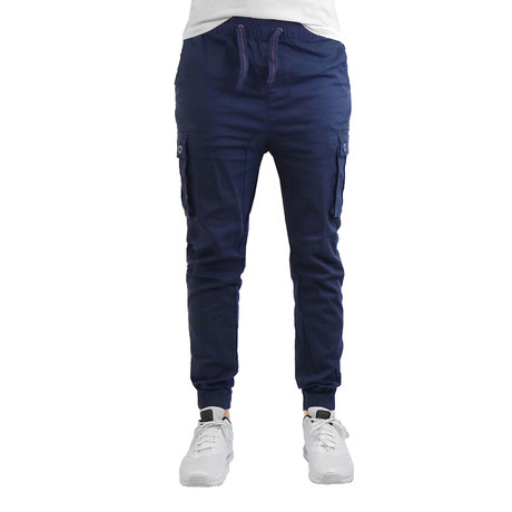 Cotton Blend Twill Cargo Joggers // Navy (S)