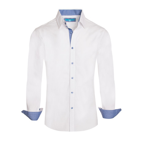 Cotton-Stretch Long Sleeve Shirt // White (S)