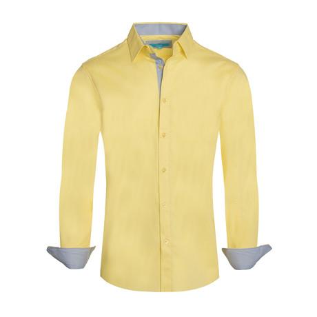 Cotton-Stretch Long Sleeve Shirt // Yellow (S)