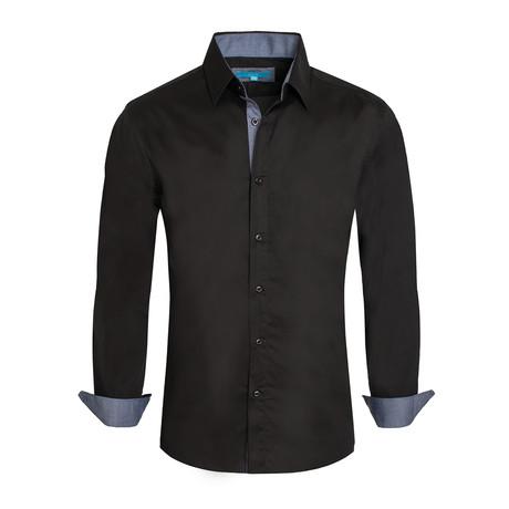 Cotton-Stretch Long Sleeve Shirt // Black (S)