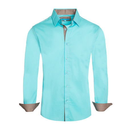 Cotton-Stretch Long Sleeve Shirt // Turquoise (S)