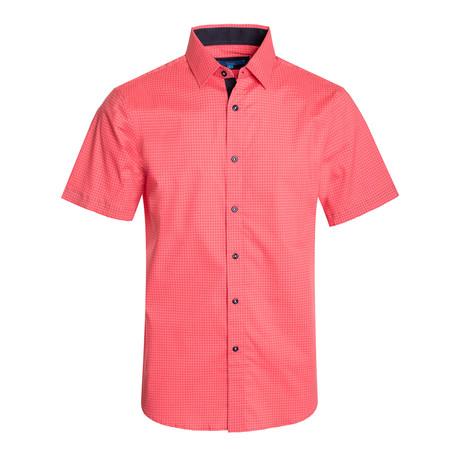 Geometric Pattern Cotton Short Sleeve Shirt // Coral (S)