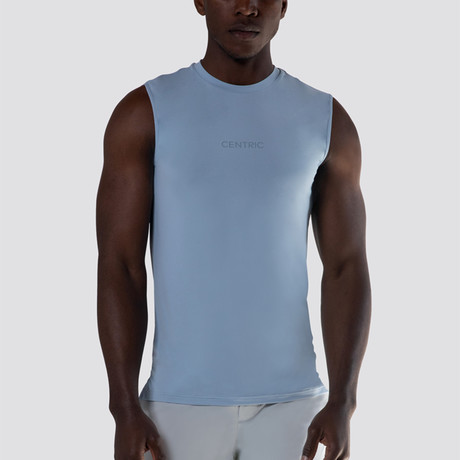 SilkTek™ Training Sleeveless Tee // Heather Light Blue (Extra Small)