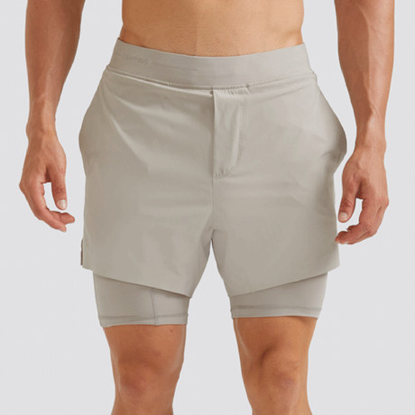 "Hi-Flex™ Training Shorts 5"" Lined // Pale Khaki (Extra Small)"
