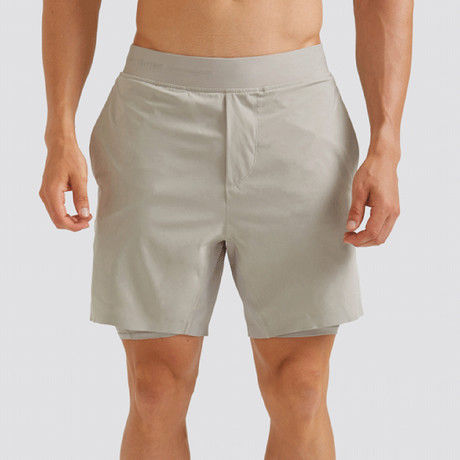 "Hi-Flex™ Training Shorts 7"" Lined // Pale Khaki (Extra Small)"