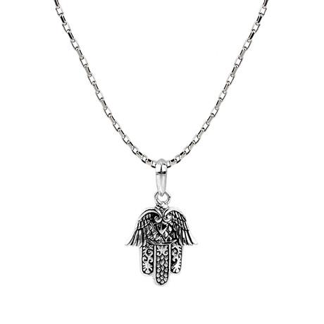 Hamsa Pendant + Chain // Silver