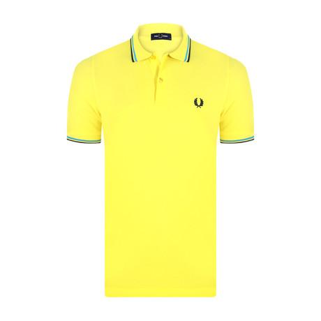 Tipped Polo Shirt // Modern Yellow + Modern Blue + Black (S)