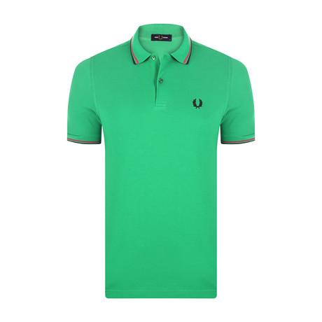 Tipped Polo Shirt // Modern Green + Modern Pink + Black (S)