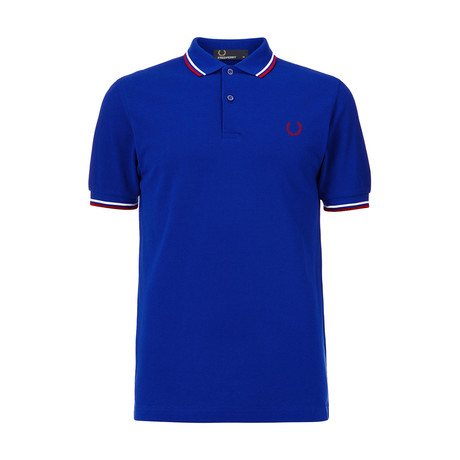 Tipped Polo Shirt // Royal Blue + White + Red (S)